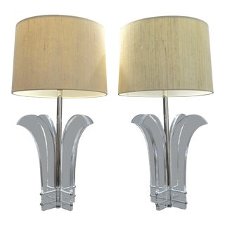 Vintage Lucite and Nickel Palm Beach Tree Lamps-A Pair-Mid Century Modern MCM Art Deco Hollywood Regency Tropical Coastal