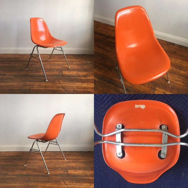 Orange Herman Miller Eames Fiberglass Shell Chairs - Set of 4 For Sale - Image 5 of 9