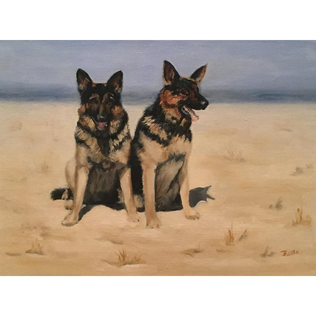 Unframed Oil Painting of Two German Shepards - Image 1 of 6