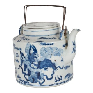 Exquisite Chinese Delft Tea Pot 19th Century with Temple Guardian Lions Motif