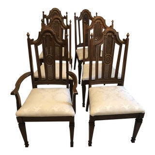 19th Century Vintage Mahogany French Style Caned Back Dining Chair- Set of 6 For Sale