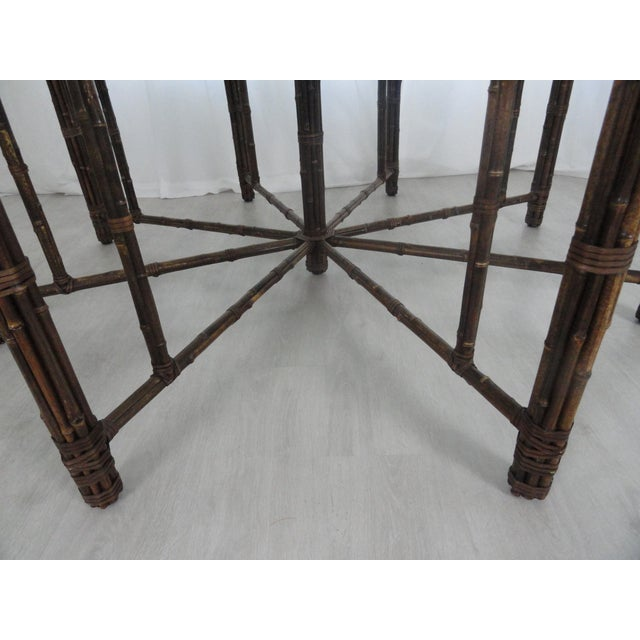 McGuire Octagonal Bamboo and Rattan Dining Table For Sale In Miami - Image 6 of 11