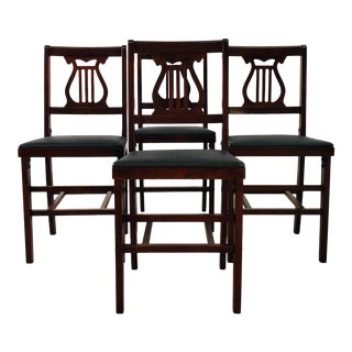 Vintage 1960s Folding Mahogany Dining Chairs, Set of 4 For Sale
