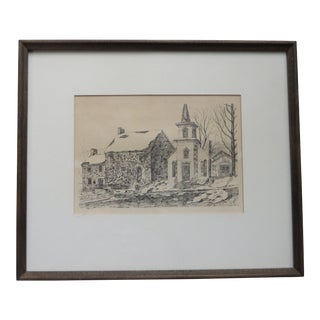 Late 20th Century R. Hofing '18th Century Colonial House New Hope Pa' Pen Ink Drawing For Sale