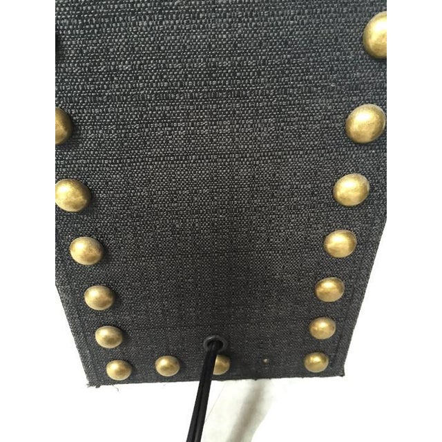 Modern Glam Studded Black & Brass Lamps - Pair - Image 6 of 10