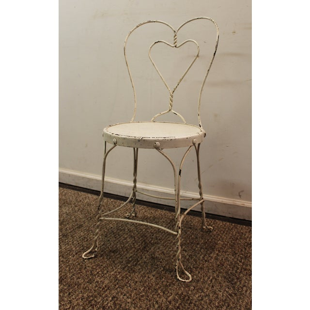 Vintage Ice Cream Heart-Back Wire Side Chair - Image 3 of 11