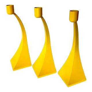 Yellow Modernist Candle Holders, a Trio For Sale