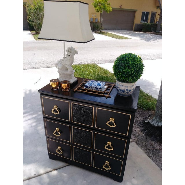 Hollywood Regency Dorothy Draper Style Hollywood Regency 3 Drawer Black Gold Vintage Small Dresser For Sale - Image 3 of 8