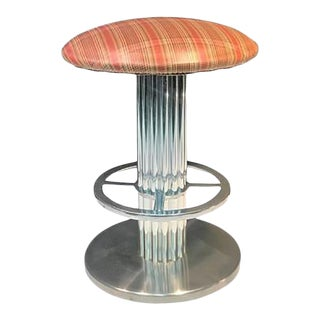 Modernist Brushed Chrome Stool by Designs for Leisure For Sale
