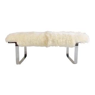 Vintage Milo Baughman Chrome Bench Restored in Brazilian Sheepskin For Sale