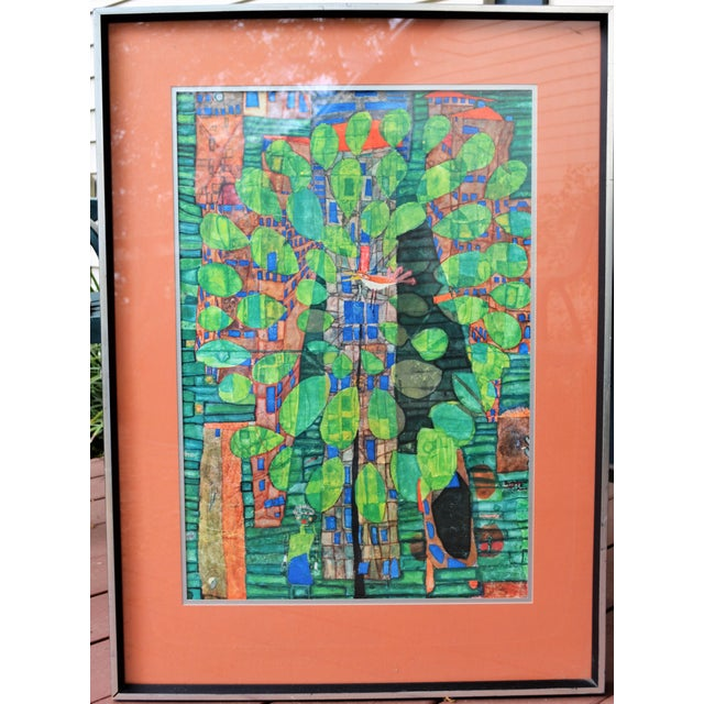 This is a mid-century art print by Friedrich Hundertwasser of Singing Bird on a Tree in the City. The original was created...