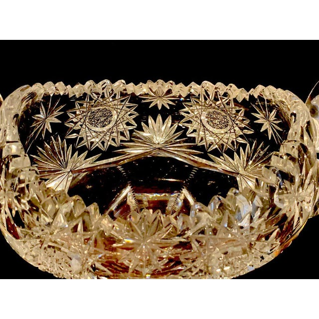American Brilliant Cut Glass Footed Double, Handled Nappy For Sale - Image 10 of 11