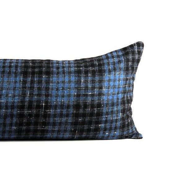 """Blue Plaid Wool Lumbar Pillow 13"""" x 34"""" For Sale - Image 4 of 7"""