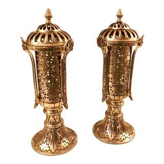 Restored Cast Metal Lantern Lights, a Pair - Vintage For Sale
