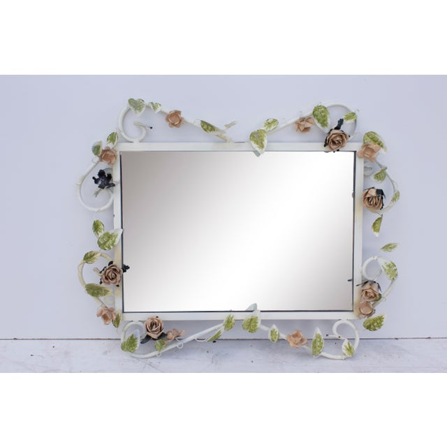"Dorothy Draper Italian Tole Mirror With Pale Pink Roses, 19"" X 24"" For Sale - Image 4 of 8"