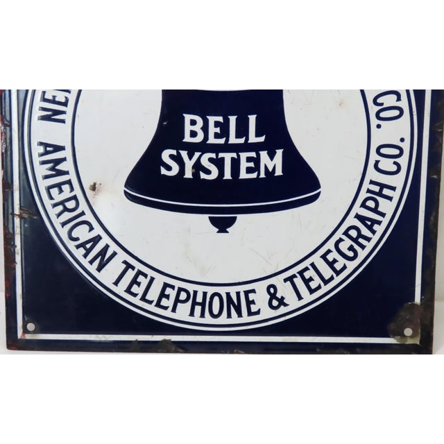 Antique Porcelain on Steel Bell Telephone Advertising Sign For Sale In Boston - Image 6 of 13