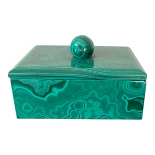 Vintage Lidded Malachite Trinket Box For Sale