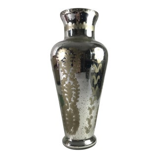 Traditional Etched Mercury Glass Vase For Sale