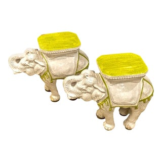 Italian Ceramic Elephant Garden Stools or Tables - A Pair For Sale