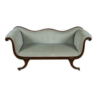 Clarence House Velvet Upholstered Recamier Sofa For Sale