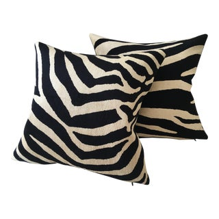 Vervain Complementary Faux Zebra Pillows - a Pair For Sale