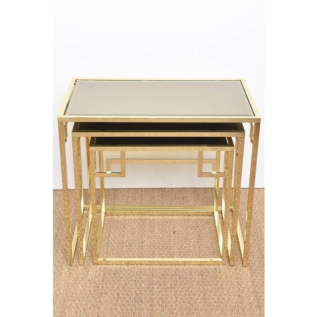 Italian Brass & Glass Greek Key Nesting Tables Final Markdown For Sale - Image 4 of 11