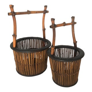 Bamboo Japanese Nesting Baskets, Set of 2 For Sale