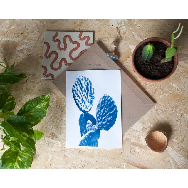 Craft Original Cyanotype Print Totally Handmade From A, Succulent Cactus (Limited Edition) For Sale - Image 4 of 4