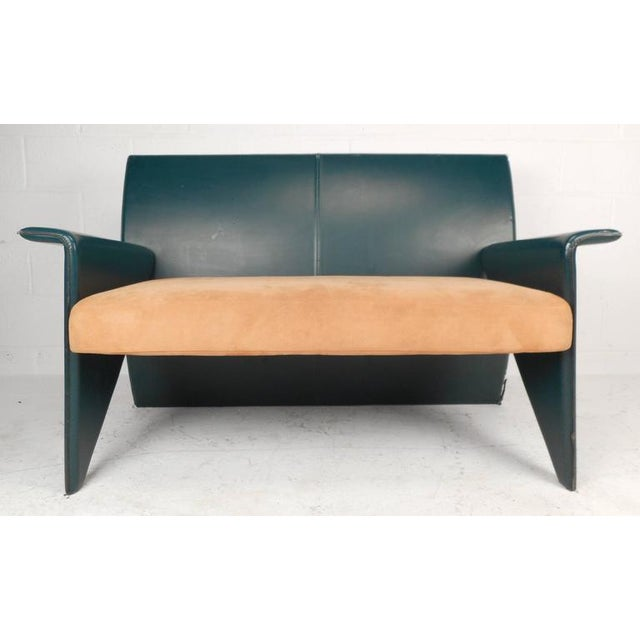 Mid-Century Modern Mid-Century Modern Italian Leather Settee For Sale - Image 3 of 7