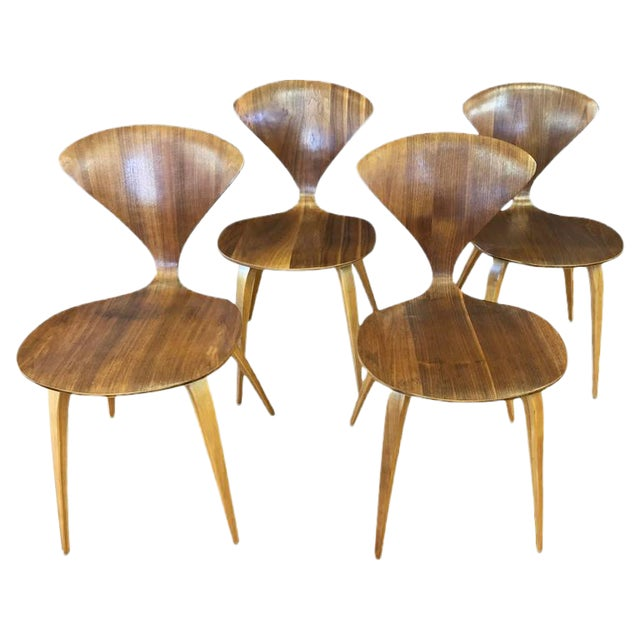 set of four vintage cherner side chairs by norman cherner for