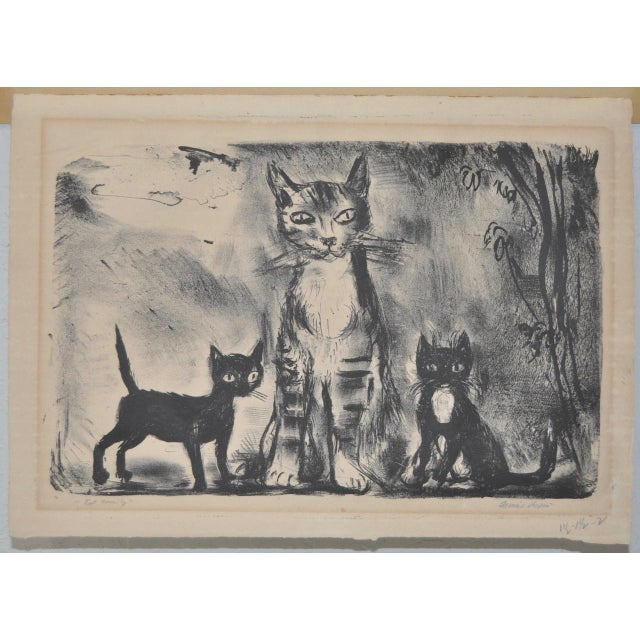 """Charming lithograph titled """"Cat Family"""" by noted American artist Francis Chapman (American, 1899-1965) circa 1930s...."""