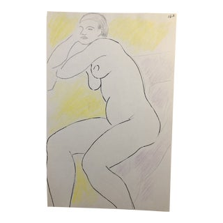 Resting Female Nude Drawing by James Bone 1990s For Sale