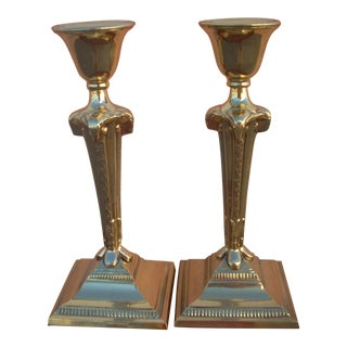 Neoclassical Brass Candlesticks - A Pair For Sale