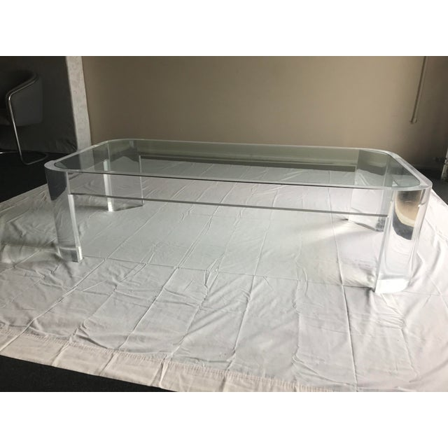 1970s 1970s Vintage Steve Chase Style Lucite & Glass Coffee Table For Sale - Image 5 of 13
