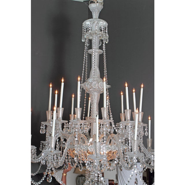 A Pair of Large Scale Majestic 24-Light Cut-Crystal Chandeliers For Sale - Image 4 of 12