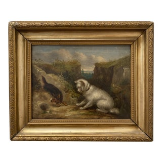 19th Century English Landscape with Dogs Oil Painting, Framed For Sale
