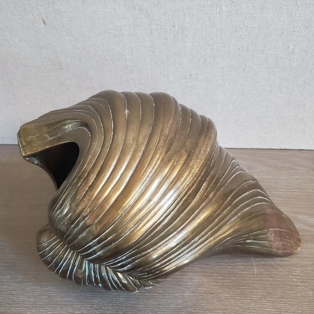 Metal Large Brass Clam Sea Shell Sculpture & Planter For Sale - Image 7 of 9