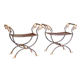 Pair of Early 20th Century French Polished Iron and Metal Curule Stools For Sale