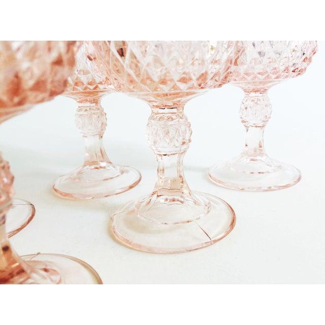 Vintage Blush Pink Wine Glasses - Set of 6 For Sale - Image 5 of 5
