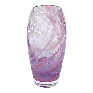 Midcentury Scottish Caithness Glass Etched Heart Vase