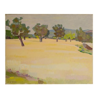 """19th Century """"Spring Trees"""" Expressionist Landscape Oil Painting by Ernest Yarrow-Jones For Sale"""