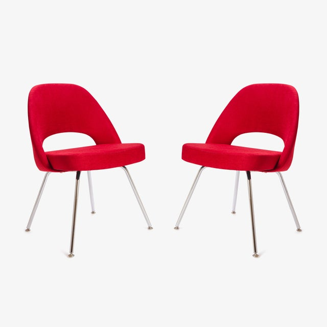 Saarinen for Knoll Executive Armless Chairs in Original Knoll Fire-Red, Pair - Image 2 of 9