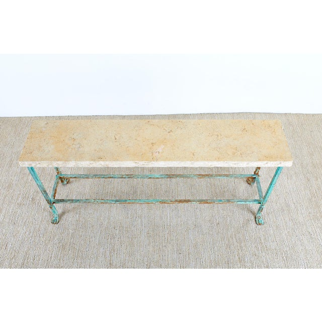 Patinated Iron and Stone Garden Console Table For Sale - Image 4 of 13
