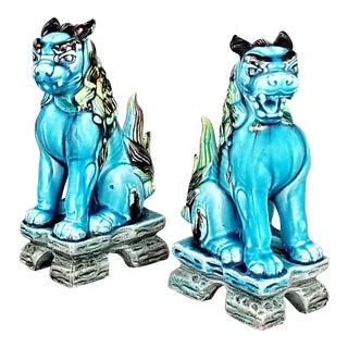 Vintage Japanese Blue Ceramic Porcelain Foo Dogs - a Pair - Asian Mid Century Modern Art Deco Tropical Coastal Palm Beach Tree Boho Chic