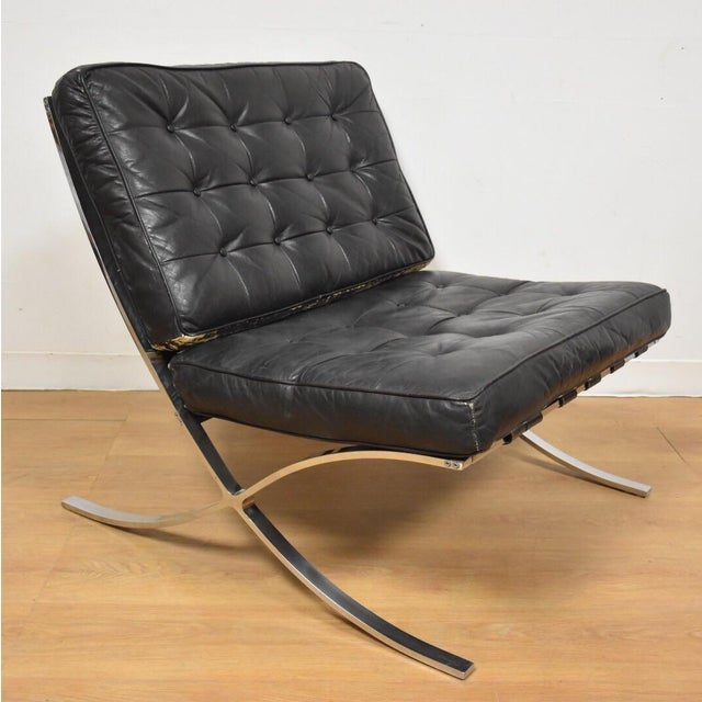Vintage Barcelona Style Black Leather Lounge Chair Chairish