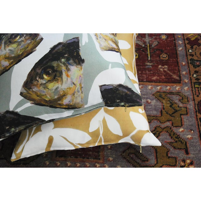 Abstract Goldenrod Fuchsia Pillow Cover by Kate Roebuck For Sale - Image 3 of 6