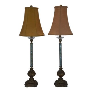 Curry & Company Tall Table Lamps With Silk Shades - a Pair For Sale
