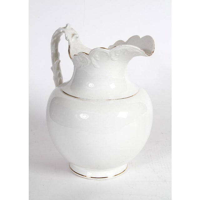 Aesthetic Movement Semi-Vitreous Porcelain Basin and Pitcher For Sale - Image 3 of 9