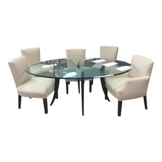 Modern Glass Top Table & 5 Chairs - 6 Pieces For Sale