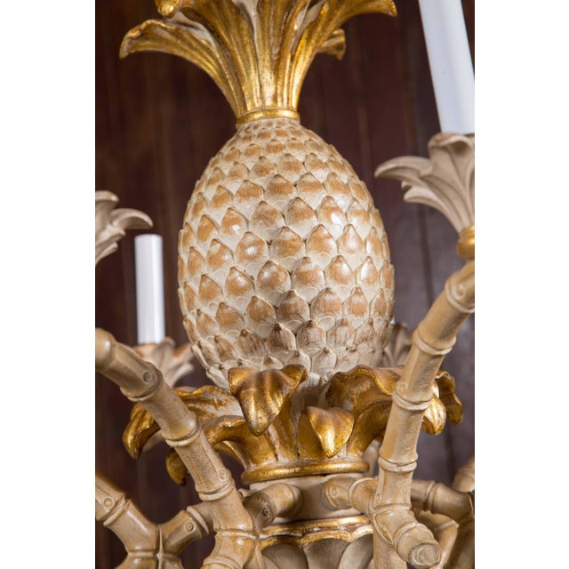 1970s Italian Carved Wood Pineapple Chandelier For Sale - Image 5 of 9